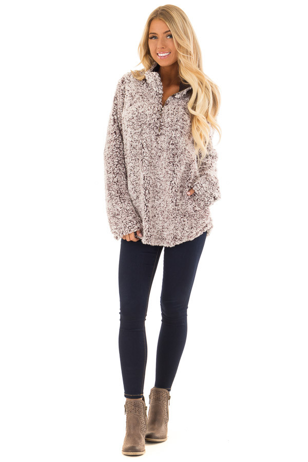 Mocha Two Tone Sherpa Pullover with Pockets front full body