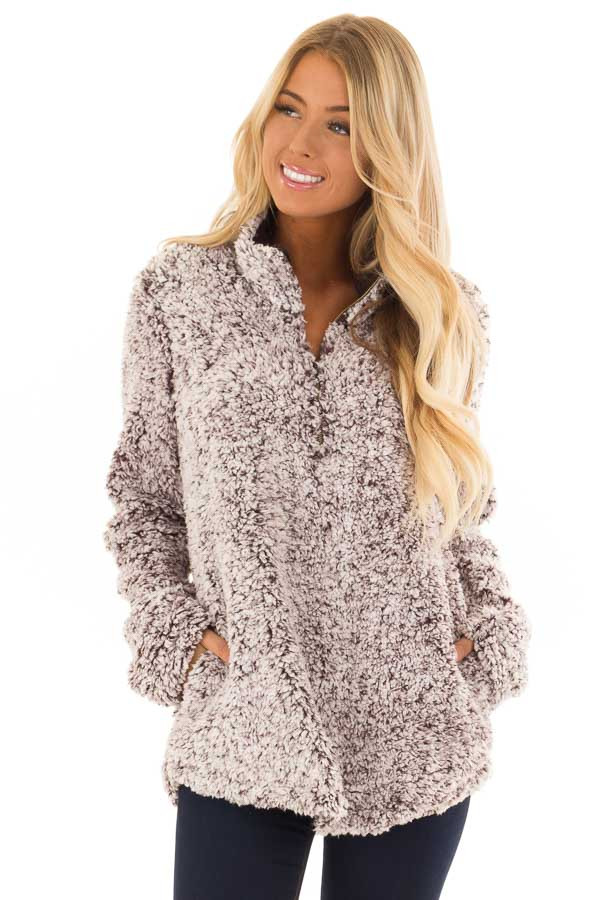 Mocha Two Tone Sherpa Pullover with Pockets front close up