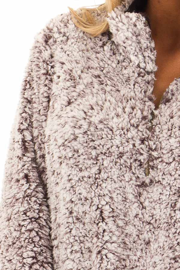 Mocha Two Tone Sherpa Pullover with Pockets detail