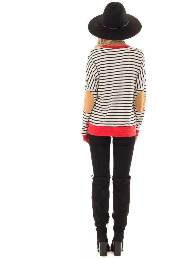 Ivory and Crimson Sweater with Suede Elbow Patches back full body