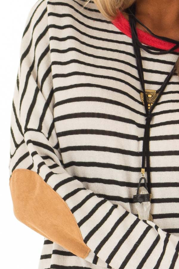 Ivory and Crimson Sweater with Suede Elbow Patches detail