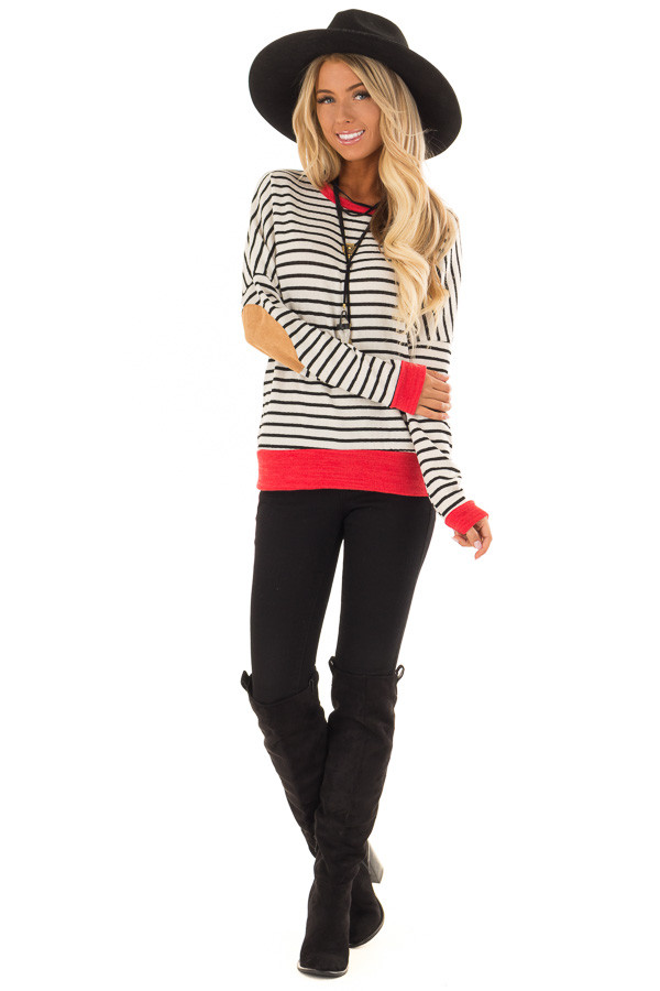 Ivory and Crimson Sweater with Suede Elbow Patches front full body