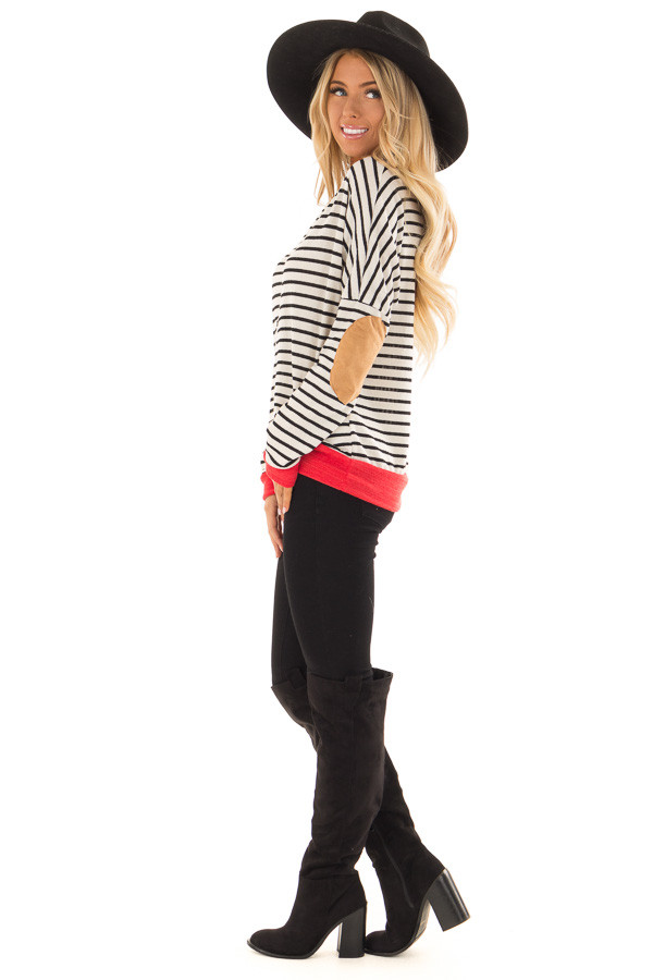 Ivory and Crimson Sweater with Suede Elbow Patches side full body