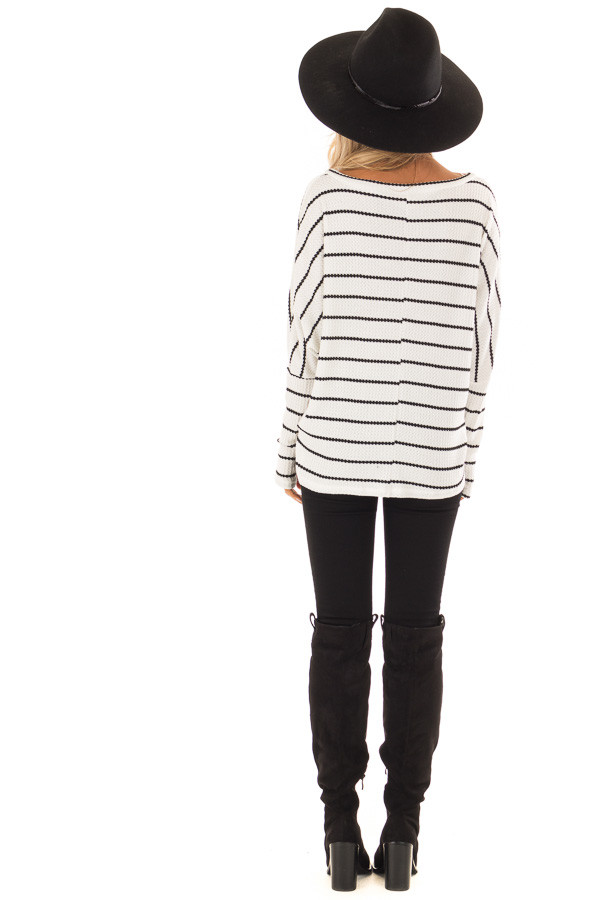 Ivory and Black Striped Thermal Knit Top with Thumb Holes back full body