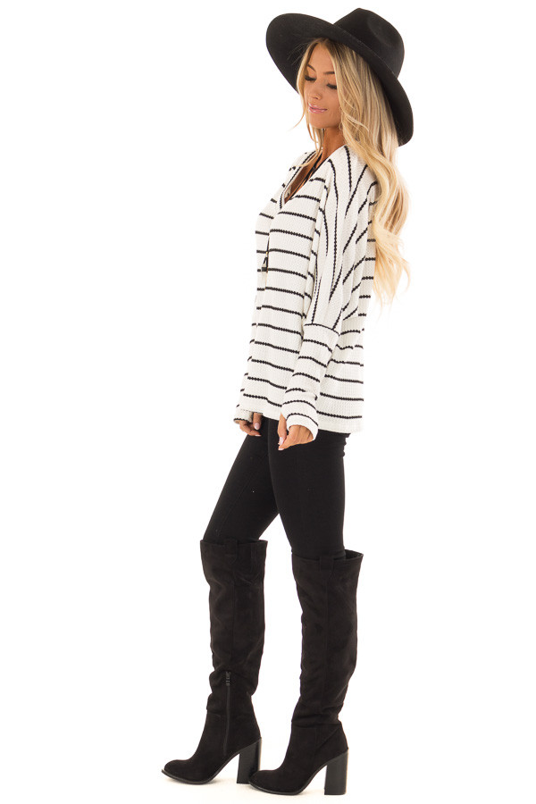 Ivory and Black Striped Thermal Knit Top with Thumb Holes side full body