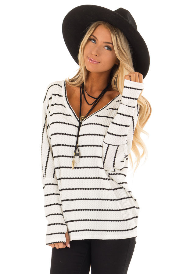 Ivory and Black Striped Thermal Knit Top with Thumb Holes front close up