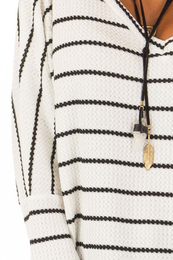 Ivory and Black Striped Thermal Knit Top with Thumb Holes detail