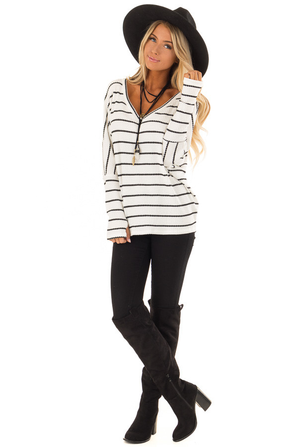 Ivory and Black Striped Thermal Knit Top with Thumb Holes front full body