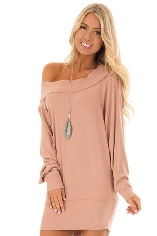 Peach Off the Shoulder Ribbed Sweater Dress front close up