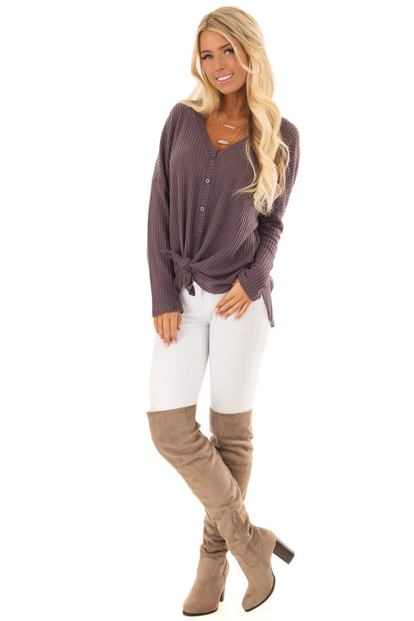 Dusty Plum Oversized Waffle Knit Button Up Top front full body