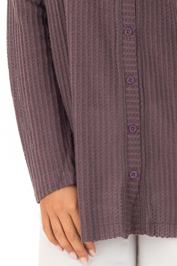 Dusty Plum Oversized Waffle Knit Button Up Top detail