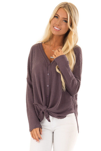 Dusty Plum Oversized Waffle Knit Button Up Top front close up