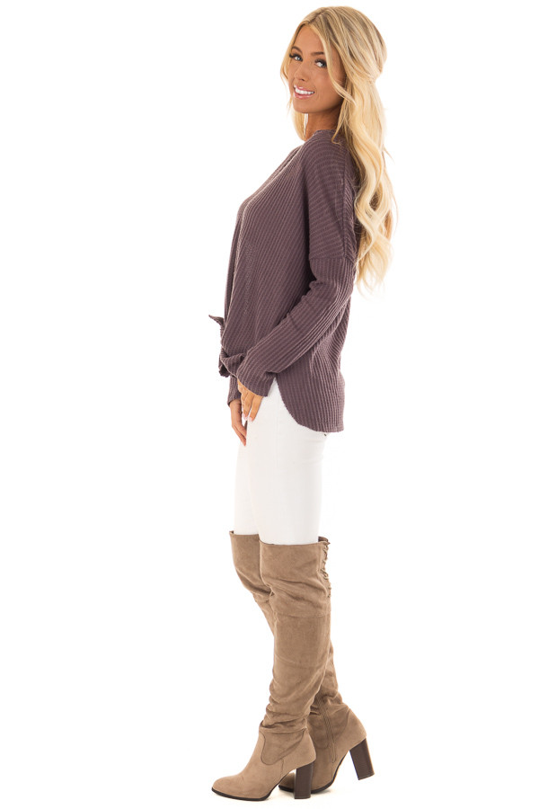 Dusty Plum Oversized Waffle Knit Button Up Top side full body
