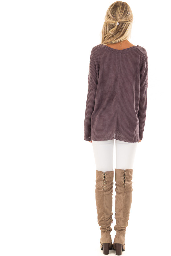 Dusty Plum Oversized Waffle Knit Button Up Top back full body