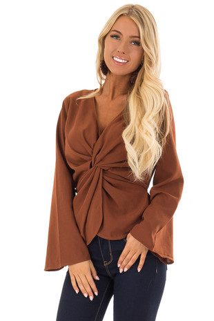 Rust Long Sleeve V Neckline Top with Front Twist Detail front close up