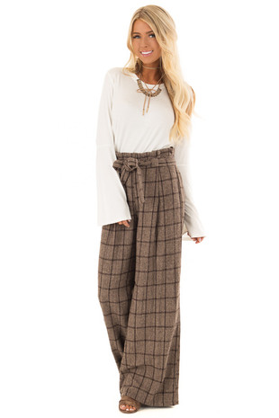 Mocha Two Tone Plaid Pants with Waist Tie front full body