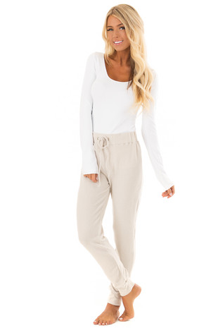 Antique Cream Soft Comfy Joggers with Waist Tie front full body
