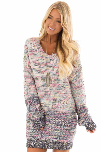 Multicolor Relaxed Fit Long Sleeve Sweater front close up
