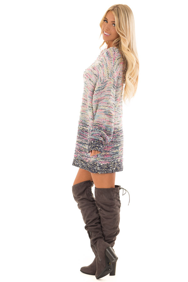 Multicolor Relaxed Fit Long Sleeve Sweater side full body