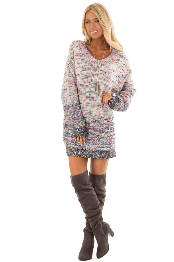 Multicolor Relaxed Fit Long Sleeve Sweater front full body