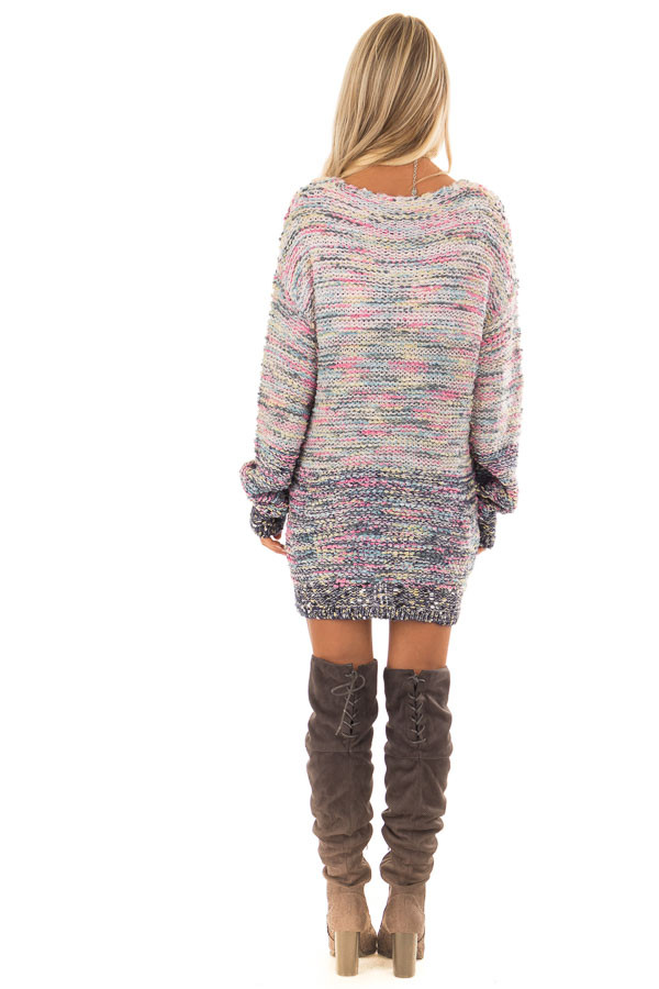 Multicolor Relaxed Fit Long Sleeve Sweater back full body
