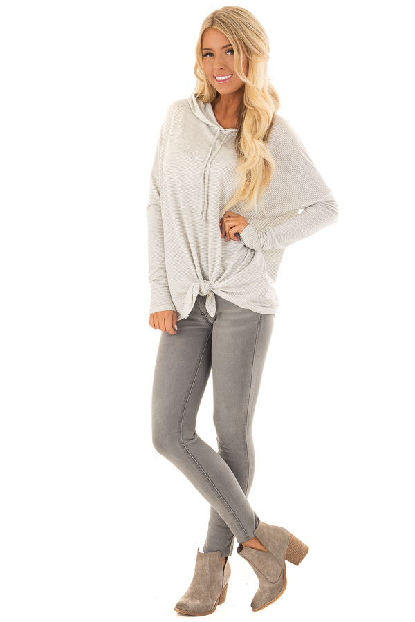 Heather Grey and Ivory Striped Hoodie with Front Tie front full body