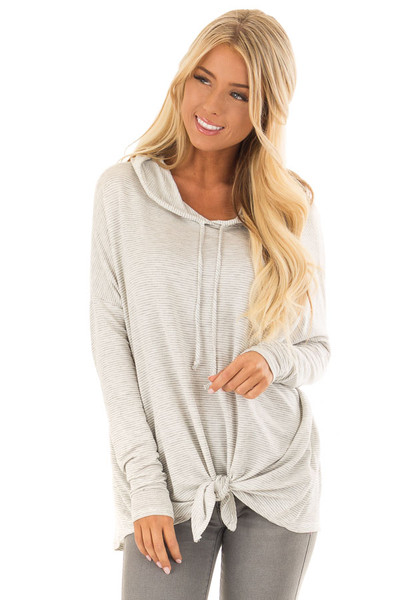 Heather Grey and Ivory Striped Hoodie with Front Tie front close up