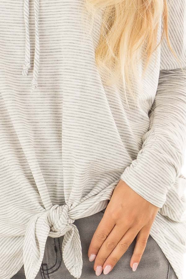 Heather Grey and Ivory Striped Hoodie with Front Tie detail
