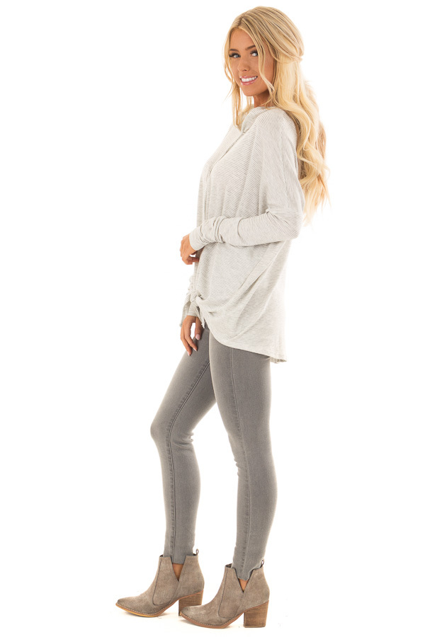 Heather Grey and Ivory Striped Hoodie with Front Tie side full body