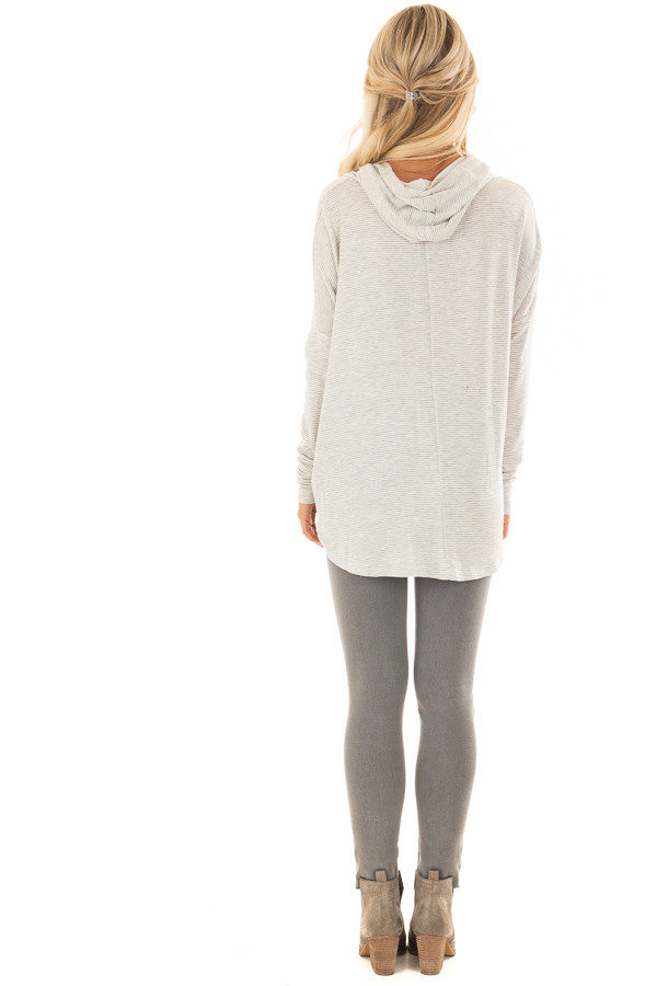 Heather Grey and Ivory Striped Hoodie with Front Tie back full body
