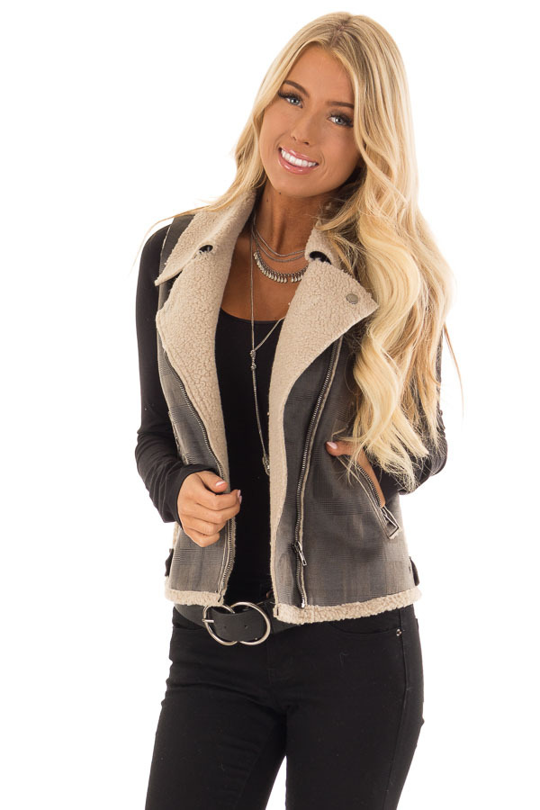 Charcoal Plaid Moto Vest with Fur and Zipper Detail front close up