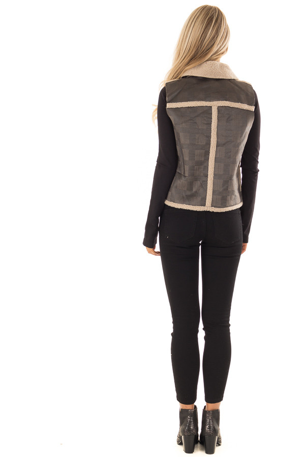 Charcoal Plaid Moto Vest with Fur and Zipper Detail back full body