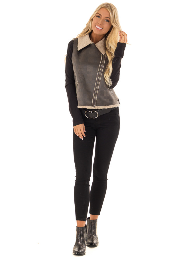 Charcoal Plaid Moto Vest with Fur and Zipper Detail front full body