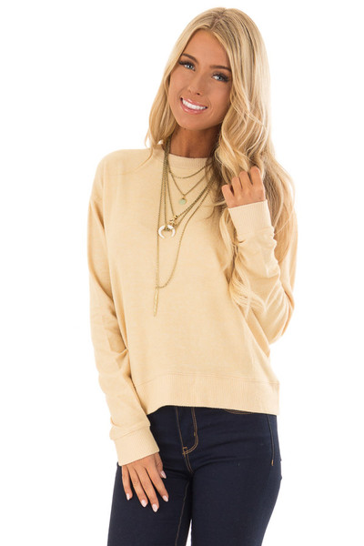 Honey Soft Long Sleeve Sweater Top front close up