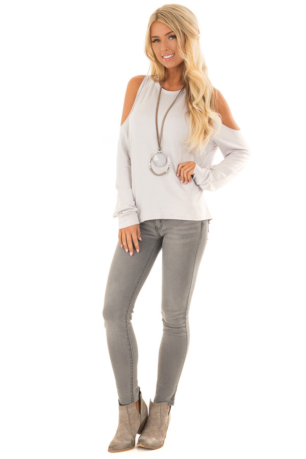Cloud Grey Cold Shoulder Long Sleeve Top front full body