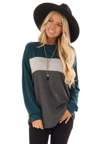 Dark Teal Color Block Top with Long Sleeves front close up