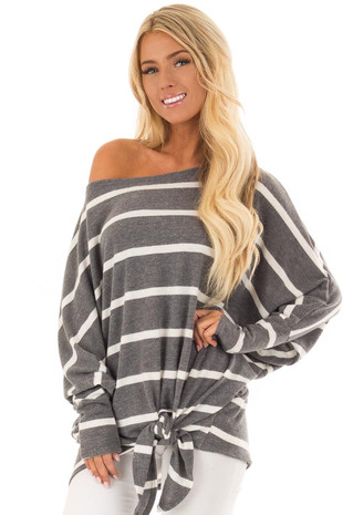 Charcoal and Ivory Striped Top with Front Tie Detail front close up