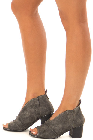 Charcoal Open Toe Cut Out Bootie side view