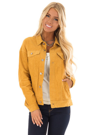 Mustard Corduroy Button Up Jacket front close up