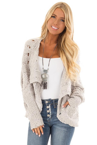Heather Grey Long Sleeve Open Front Cardigan with Pockets front close up
