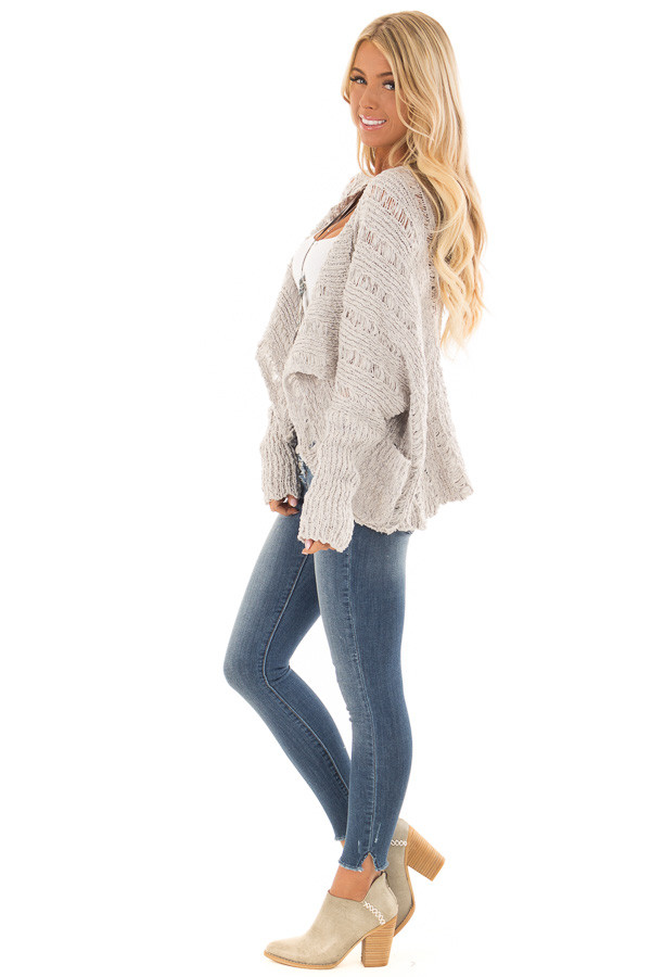 Heather Grey Long Sleeve Open Front Cardigan with Pockets side full body