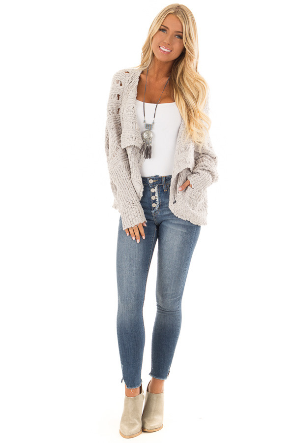 Heather Grey Long Sleeve Open Front Cardigan with Pockets front full body