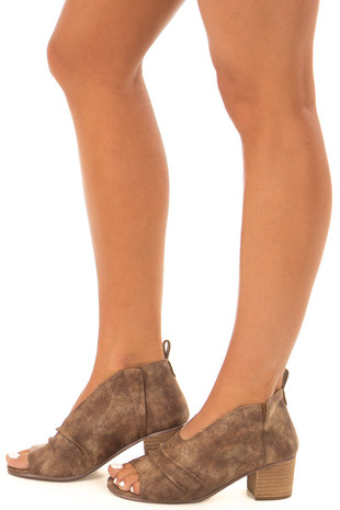Cinnamon Open Toe Cut Out Bootie side view