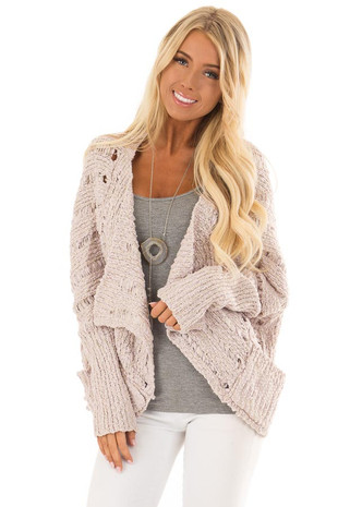 Mauve Long Sleeve Open Front Cardigan with Pockets front close up
