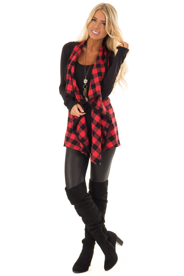 Cherry Red and Black Plaid Open Drape Vest front full body