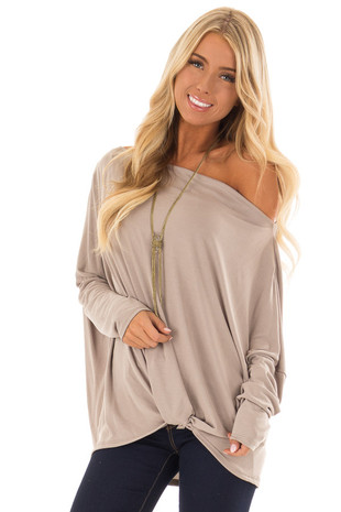 Coco Off the Shoulder Soft Knit Top with Front Knot front close up