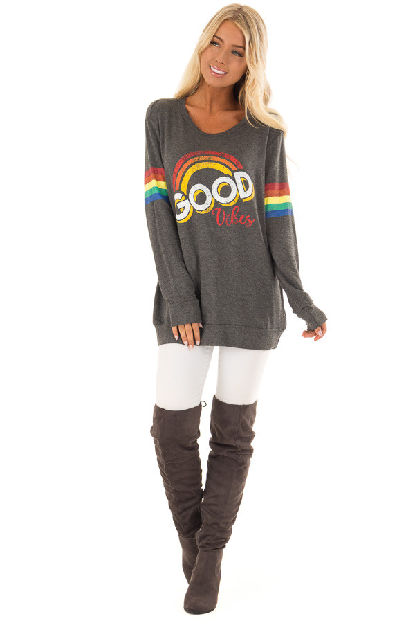 Charcoal Long Sleeve 'Good Vibes' Graphic Top front full body