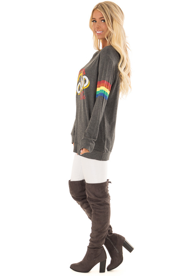 Charcoal Long Sleeve 'Good Vibes' Graphic Top side full body