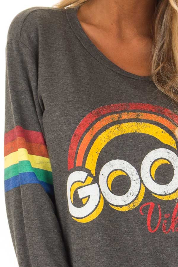 Charcoal Long Sleeve 'Good Vibes' Graphic Top detail