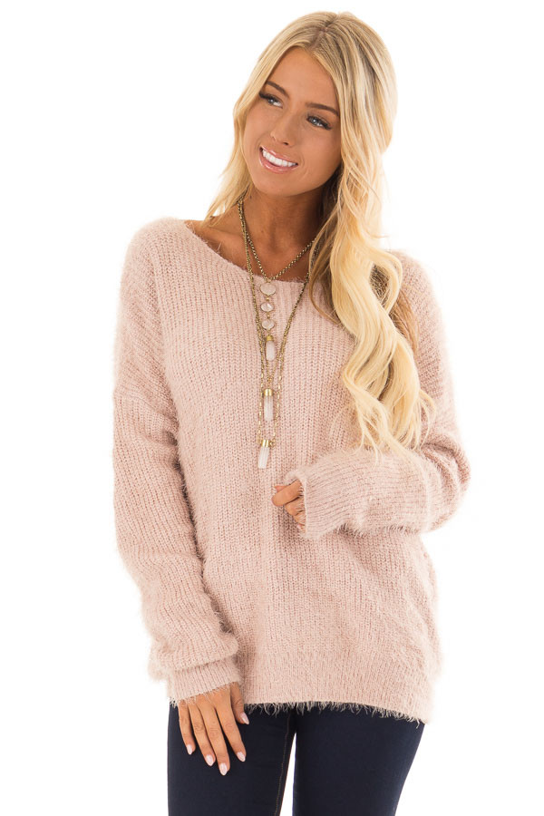 Dusty Pink Knit Sweater with Open Cross Back front close up